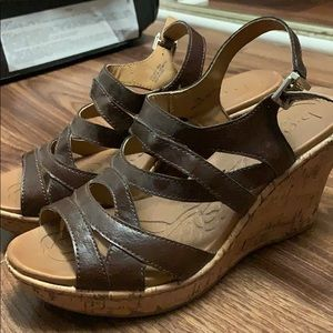 Dark brown BOC wedge shoes